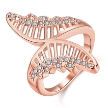 Fashion Women's Large Size Ring Rose Gold Plated Color With White Clear Crystal Ring Princess Angel Wing Female Ring