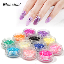 ELESSICAL 12 bottles Candy Color Shell Powders Nail Art Glitters Free Style Chunky Sombra Glitter Polishing For Nail Tool WY1077