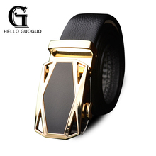 Hello guoguo Belts men leather Top Genuine cowskin Metal Aytomatic buckle Cool Business boss style Girdle Men band Brand belt(China)