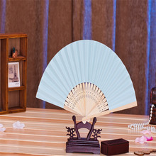11pcs/lot light blue color Paper Hand Fan wedding  party decorative paper crafts