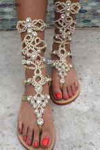 VINAPOBO 2018 Women Flats Gladiator Sandal Gold Rhinestone Zip Strap Boots  Bohemia Style Crystal Beach Summer Shoes Plus Size 43 9758f1c3ab75