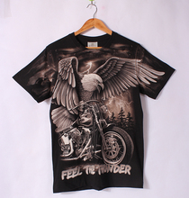 3D Printted Eagle Harley Short-sleeve T shirt Male Motorcycle Cotton t shirt  Feel The Thunder Europe Size Summer Hawks Tops Tee