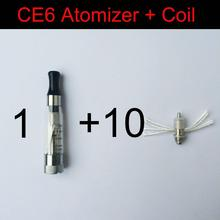 1pcs CE6 Atomizer + 10pcs Replacement Coil Head Ego CE4 CE5 Electronic Cigarette Atomizer EVOD CE4+ CE4S Clearomizer Vaporizer