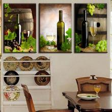 2016 New Fashion 3 Pcs/Set Modern Spray Canvas Painting Beer Bottle Wine Canvas Painting For Dining Room Wall Art Picture(China)