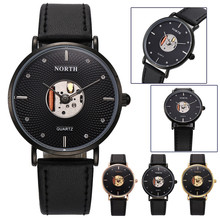 Black/Gold/Rose Gold Leather Hollow Quartz Analog Men's Quartz Watch 3 Degrees Waterproof(China)