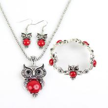 Fashion Jewelry lot Hot Vintage Antique Silver Red Owl Jewelry Set Necklace Pendant Earring Bracelet For Women Jewelry Sets