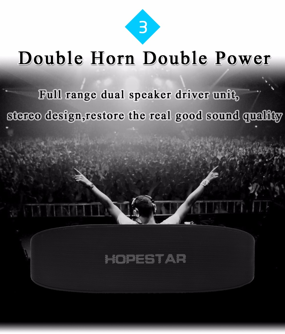 HOPESTAR H11 Bluetooth Wireless Speaker Hifi Soundbar Dual Bass Stereo Support USB TF AUX FM with Power bank charging for phone