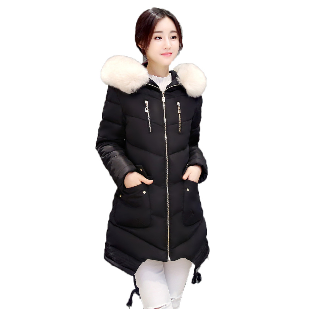 2017 New Winter Jacket Women Long Solid Slim Hooded Coat With Fur Collar Warm Outwear Female ClothingОдежда и ак�е��уары<br><br><br>Aliexpress