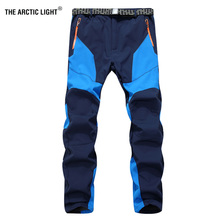 Ski pants Hiking New Men Male waterproof windproof autumn Winter outdoor sports climbing soft shell more fleece(China)