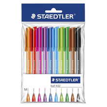 Staedtler 432 M Triangle Holder Ballpoint Pen 10 Multicolour Set Black/Pink/Red/Yellow/Orange/Purple Writing Supplies(China)