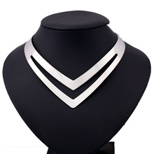 New Arrival V Design Adjustable Choker Necklaces Silver Gold Metal Goth Clavicle Torques For Women Neck Jewelry Collier Femme(China)