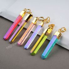 BOROSA Fashion 10pcs/lot Gold Color MixedColor Aura Quartz Titanium Crystal Point Pendant Bead G0360
