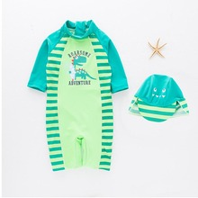 Siamese Swimsuit Baby  Boy Handsome Dinosaur Beach Sunscreen Clothing kids swimwear and cap in one set