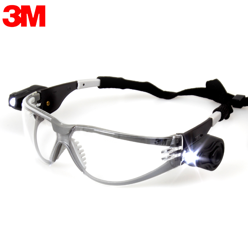 3M 11356 Safety Goggles with LED Lights Eye Protection Anti-Shock /Dust/Sand Splash Wind Mirror Outdoor Sports Glasses KL0428<br>