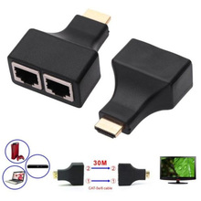 New 2PCS/set HDMI To Dual Ports RJ45 Network Cable Extender Over by Cat5e/Cat6 Cables 1080p For HDTV HDPC PS3 STB 30m