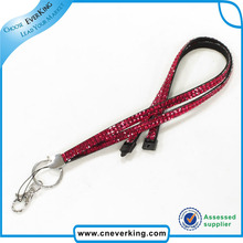 Free Shipping  Red Rhinestone Lanyard Crystal Bling Custom Lanyard & ID Badge Cellphone Key Holder Ring Newest bulk selling