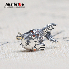 Authentic 925 Sterling Silver Animal Goldfish With Cold-color Crown Orange CZ Charm Bead Fit European Original Bracelet Jewelry