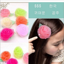 Hot Summer Style Chiffon Rose Floral Hair Clips Size 7*7cm Children Accessories Flower Kids Hair Accessories Baby Hair Clip