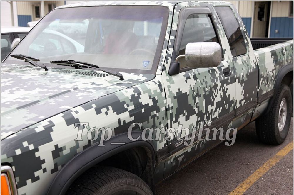 military digital camoulfage vinyl car wrapping film green black foil camo ubran (6)