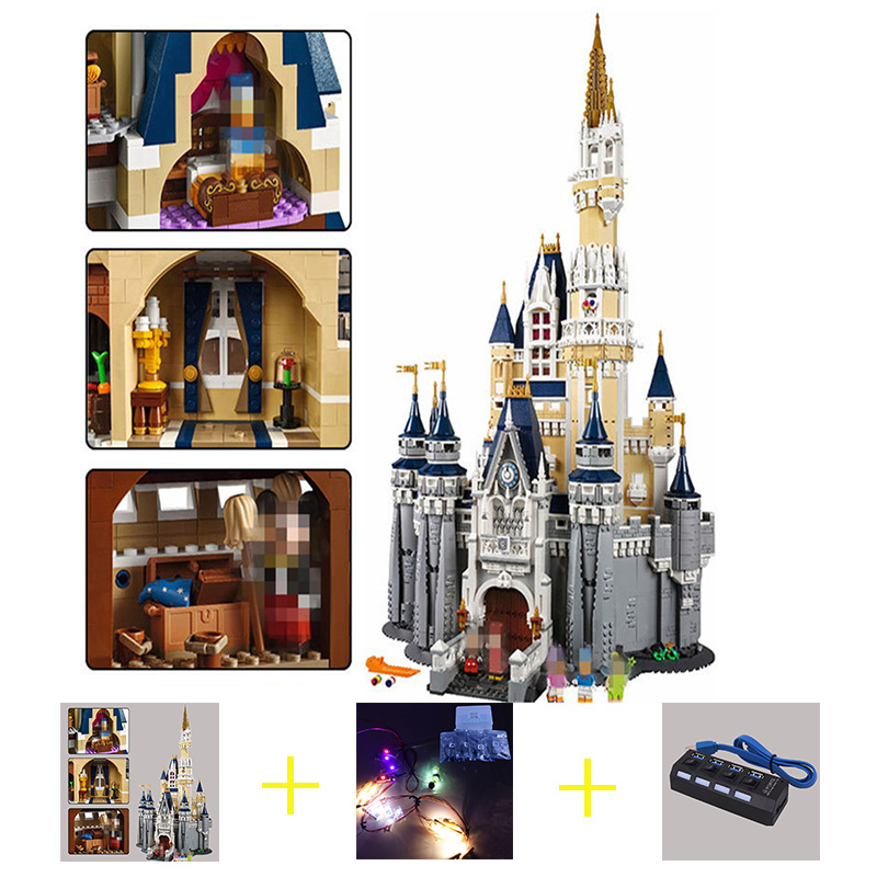 Building Blocks City Street 16008 Cinderella Princess Castle Led Light Set For Legoing 71040 Toys Creator City Street Lighting