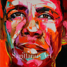 Hand Painted Palette knife portrait Cool Face Barack Obama Francoise Nielly Designer Oil painting canvas Wall Art Living Room(China)