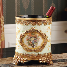 Bedroom living room European-style resin capless trash fashion creative pastoral home luxury retro round wastebasket(China)