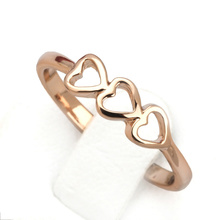 Top Quality Classical 3 Hearts Ring Rose Gold Color Full Sizes Wholesale ZYR169 ZYR170