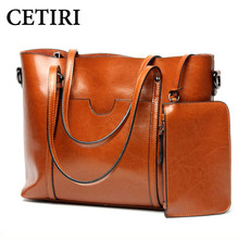 Genuine Leather Bags Female Designer Brand Brown Handbags Women Messenger Bags Leather Shopping Tote Shoulder Bag Big 2017 2pcs