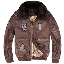 2018 Men Vintage Brown Genuine G1 Leather Pilot Jacket Wool Collar Real Thick Cowhide Winter Flight Leather Coats S-XXXL(China)