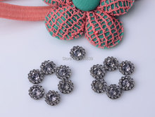 Free Shipping Gray Rhinestone Embellishment button Flat Back Used on Flower Center or craft DIY 9mm 20pcs/lot