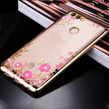 Buy Huawei P Smart Case Bling Flowers Crystal Rose Gold Plating Soft TPU Back Cover Huawei P Smart 5.65 Silicone Phon Cases for $2.98 in AliExpress store