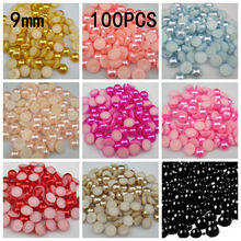 New Arrival 100Pcs 9mm Many Colors Craft ABS Imitation Pearls Half Round Flatback Pearls Resin Scrapbook Beads Decorate Diy