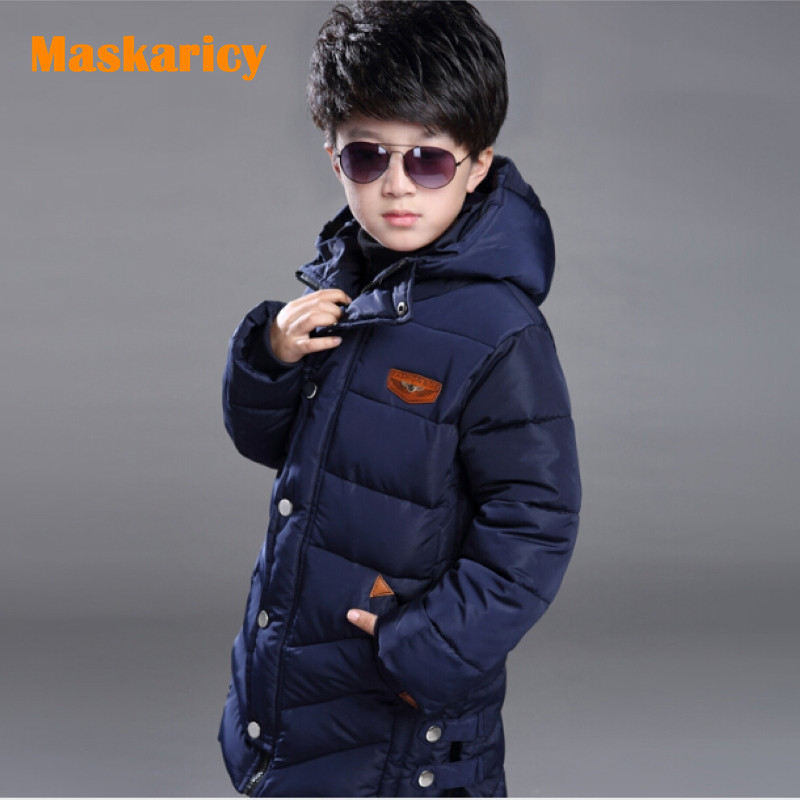2016 Winter Childrens Jackets Teenage Winter Coats Parkas Boys Parka Hooded Cotton Long Children Costume Jacket Kids Clothes <br>