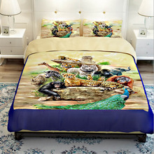 Tiger Lion Monkey Giraffe Zebra Peacock Elephant Zoo Bedding Sets Twin Queen King Size 3D Animal Print Quilt Cover Bed Sheets