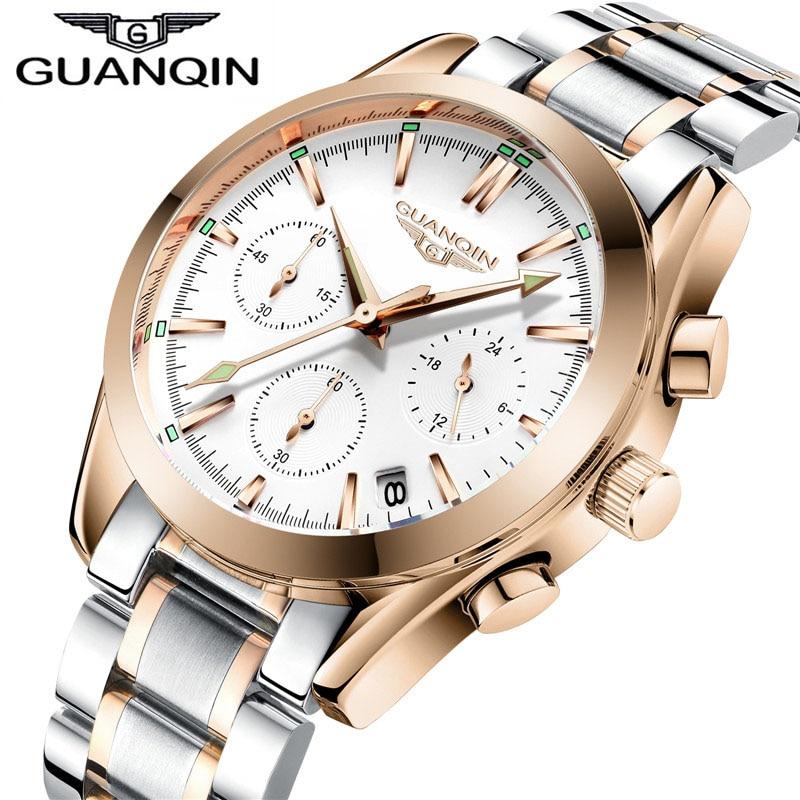 2018 GUANQIN Chronograph Watch Men Luxury 24 Hours Date Clock Men Business Full Steel Waterproof Quartz Watch relogio masculino<br>