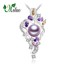 MITUO 925 sterling silver flower necklace,Fine jewelry statement necklace,Pearl pendant Yellow gem ,Purple gem Bohemia necklace(China)