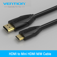 Vention Mini HDMI to HDMI Cable HDMI 1.4V 1080P 1m 1.5m 2m 3m High Gold Plated Mini HDMI Cable for Tablet Camcorder MP4 DVD(China)
