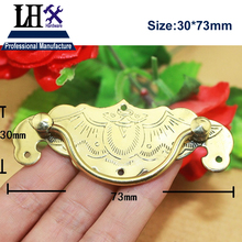 LHX CYP153 2pcs/lot Brass Golden Bat Handle Tab Drawer Cabinet Jewelry Box Puller Chest Knob Decorative DIY Furniture Hardware(China)