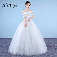Buy It's Yiiya Plus Size New Boat Neck Half Sleeves Sequins A-line Wedding Dresses Red White Simple Lace Cheap Bride Frocks XXN181 for $37.91 in AliExpress store