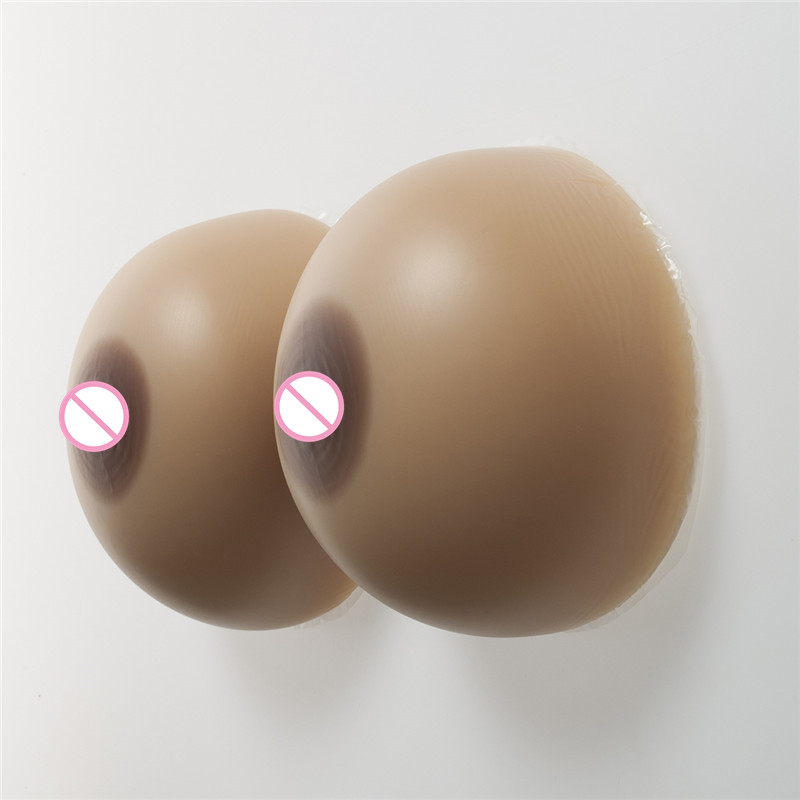 40DD/42D/36F Cup 1600g/pair Sexy Textured Nipple Brown Silicone Boobs Classic Round Breast Form Enhancer Crossdresser