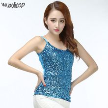 Summer Women Stage Costumes Bling Sequin Spaghetti Strap Vest Tank Top Sexy Simple Clubwear V-Neck Backless Camisole(China)