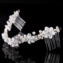 Luxury female jewelry 100%Handmade Crystal Beads Hair Comb Wear Pearl Rhinestone Wedding Bridal Headpiece  SL