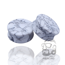Ear Expander Body Piercing Jewelry White Howlite Organic Flesh Tunnels Stone Ear Plugs Ear Gauges Expander Stretcher