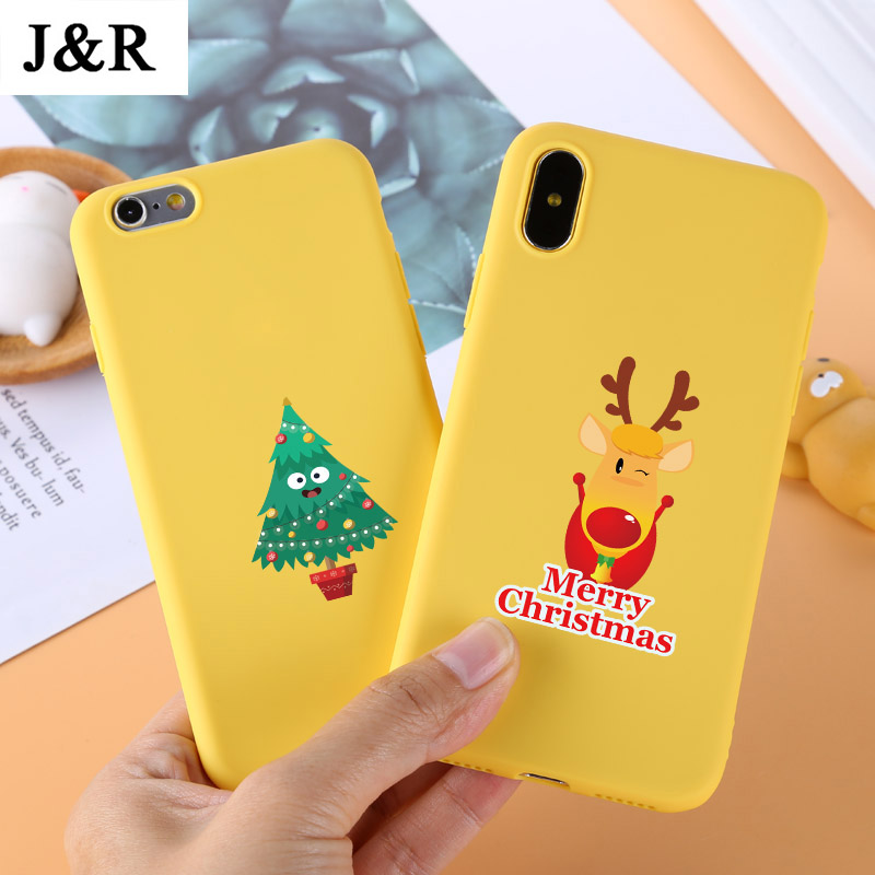 Yellow Case for iPhone X Cases 5 5S 6 6S 7 8 Plus X XS Max XR Silicon Cover Cute Cartoon Christmas Santa Claus Elk Soft TPU Bags
