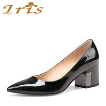 IRIS Square Heel Shoes Woman Genuine Leather Shoes For Women High Quality Pointed Toe Ladies Party Office Career Pumps 2018 New(China)