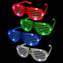 Fashion Shutters Shape LED Flashing Glasses Light up kids toys christmas Party Supplies Decoration glowing glasses(China)
