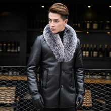 new Manufacturers Wholesale Leather Coat Jacket Fur Collar Plus velvet Thickening Men high quality warm size S M LXL 2XL3XL4XL(China)
