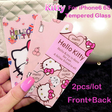 2pcs/lot Front+Back Hello kitty Color film Tempered Glass Protective Film For iPhone 6 6S Plus 5s 5se Cover Screen Protector