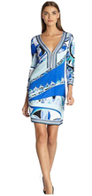 New 2014 Designer Brand Dress Women's Blue Print V-Neck Three Quarter Sleeves Stretch Jersey Silk Plus Size XXL Dress