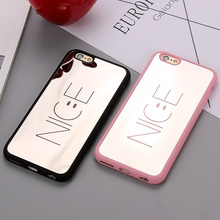 Fashion Letters NICE Shockproof Rubber Silicone Case for iPhone 7 6 6s Plus Mirror Cover for iPhone 6 6s 7 Plus Phone Back Cover